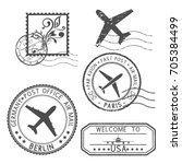 postal elements. stamps and... | Shutterstock .eps vector #705384499