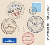 postmarks and tourist stamps on ... | Shutterstock .eps vector #705384514