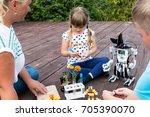 robotics class in summer in the ... | Shutterstock . vector #705390070