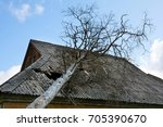 slate asbestos roof damaged by... | Shutterstock . vector #705390670