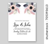wedding card or invitation... | Shutterstock .eps vector #705393613