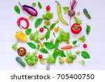 collection of fresh organic... | Shutterstock . vector #705400750
