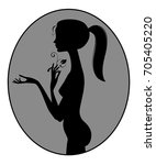 black silhouette of fine naked... | Shutterstock .eps vector #705405220