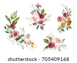 Stock photo set watercolor flowers hand painted floral illustration bouquet of flowers pink rose design 705409168