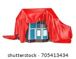 home covered red fabric ... | Shutterstock . vector #705413434