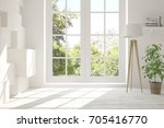 white empty room with summer... | Shutterstock . vector #705416770