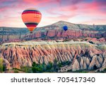 flying on the balloons early...   Shutterstock . vector #705417340
