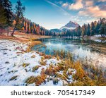 amazing sunny scene of antorno... | Shutterstock . vector #705417349
