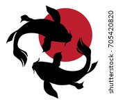 Koi Fishes And Red Sun  Logo....