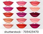 set of women lips with trendy... | Shutterstock .eps vector #705425470