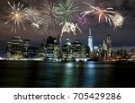 fireworks over new york city... | Shutterstock . vector #705429286