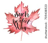 autumn red maple leaf with... | Shutterstock .eps vector #705438523