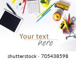 tablet pc  notebook stack and... | Shutterstock . vector #705438598