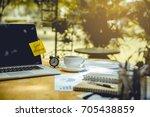 computer notebook  clock  cup... | Shutterstock . vector #705438859