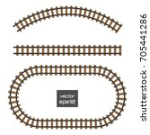 isolated vector rails set.... | Shutterstock .eps vector #705441286