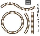 isolated vector rails set.... | Shutterstock .eps vector #705441310
