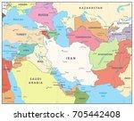 southwest asia map. detailed... | Shutterstock .eps vector #705442408