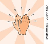 clapping hands applause pop art ... | Shutterstock .eps vector #705445864