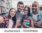 selfie time  four international ... | Shutterstock . vector #705449866