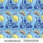 seamless background with lemons ... | Shutterstock .eps vector #705452959