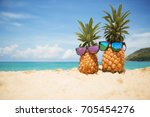 couple of attractive pineapples ... | Shutterstock . vector #705454276
