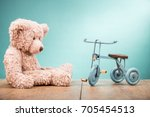 retro teddy bear and old toy... | Shutterstock . vector #705454513