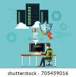 hacker attacking server or... | Shutterstock .eps vector #705459016