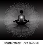 man meditate dark black... | Shutterstock .eps vector #705460018