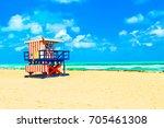miami beach colorful lifeguard...   Shutterstock . vector #705461308