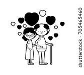 caricature full body elderly... | Shutterstock .eps vector #705465460