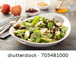 fall salad with spring mix ... | Shutterstock . vector #705481000