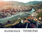 aerial view of maglaj old town... | Shutterstock . vector #705481960