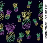 colorful pineapple pattern... | Shutterstock .eps vector #705485149