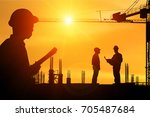 silhouette construction... | Shutterstock . vector #705487684