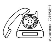 vintage rotary phone icon image  | Shutterstock .eps vector #705492949