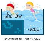 opposite wordcard for shallow... | Shutterstock .eps vector #705497329