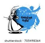 celebrate navratri festival... | Shutterstock .eps vector #705498364