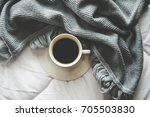 coffee with cozy winter home... | Shutterstock . vector #705503830