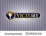 golden emblem with trophy icon ... | Shutterstock .eps vector #705504154