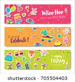 set of colorful birthday...   Shutterstock .eps vector #705504403