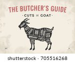 cut of meat set. poster butcher ... | Shutterstock .eps vector #705516268