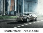 Small photo of Moscow, Russia - June 02, 2017: Mercedes-Benz CLS 500 4MATIC car is parked near office buildings in Moscow