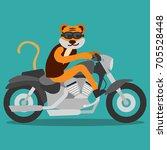 animal biker cartoon series.... | Shutterstock .eps vector #705528448