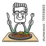 senior male  meal | Shutterstock .eps vector #705530833