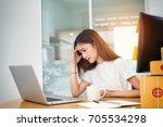 young asian girl freelancer... | Shutterstock . vector #705534298