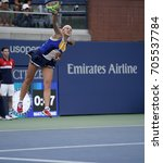 Small photo of New York, NY USA - August 29, 2017: Jelena Ostapenko of Latvia serves during match against Lara Arruabarrena os Spain at US Open Championships at Billie Jean King National Tennis Center