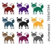 fox icon in black style... | Shutterstock .eps vector #705547594