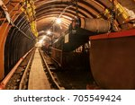 empty conveyor belt in... | Shutterstock . vector #705549424