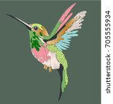 hummingbird in embroidery and... | Shutterstock .eps vector #705555934