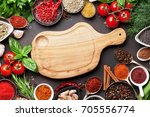 various spices  herbs and... | Shutterstock . vector #705556774